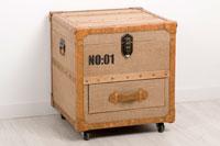 Baul de madera MDF/LINO  - Baul de madera MDF tapizado en LINO