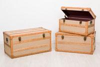 Set de 3 baules de madera   - Baul de madera MDF tapizado en LINO