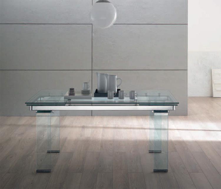 Mesa comedor extensible transparente cristal templado