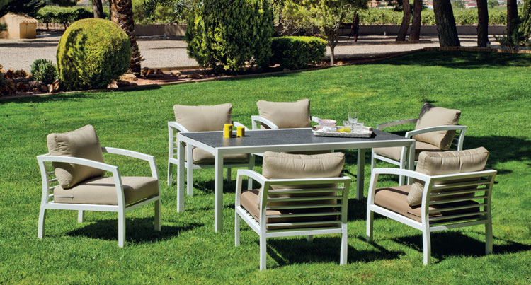 Set mesa de comedor de lujo para exteriores Acapulco 180 - Mesa de comedor con resistencia garantizada y acabado de lujo Acapulco 180