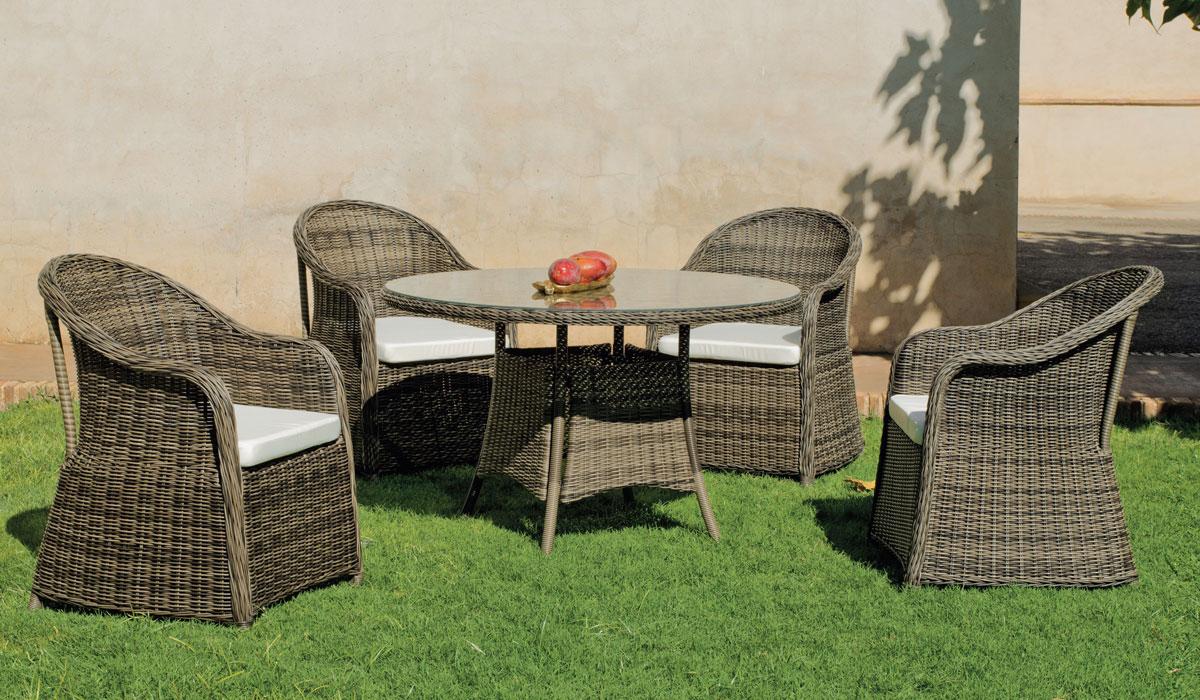 Set mesa de comedor de lujo para exteriores Amanda  - Mesa de comedor con resistencia garantizada y acabado de lujo Amanda
