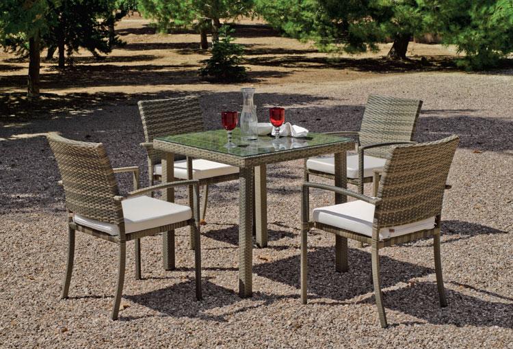 Set mesa de comedor para exteriores Abasari 808 - Mesa de comedor con resistencia garantizada y acabado de lujo Abasari 808