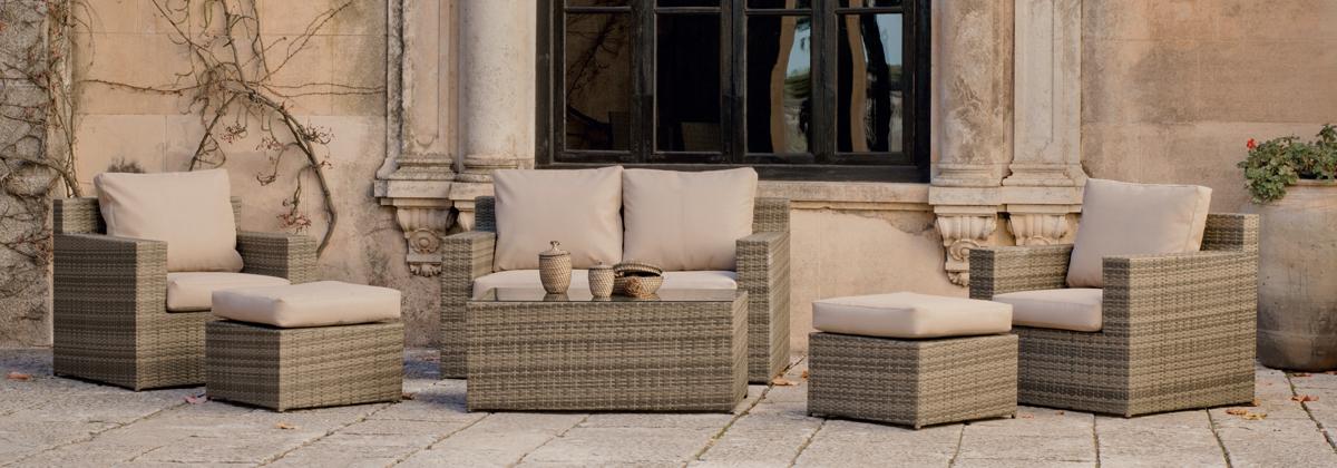 Set muebles para exteriores con cojines Textilene