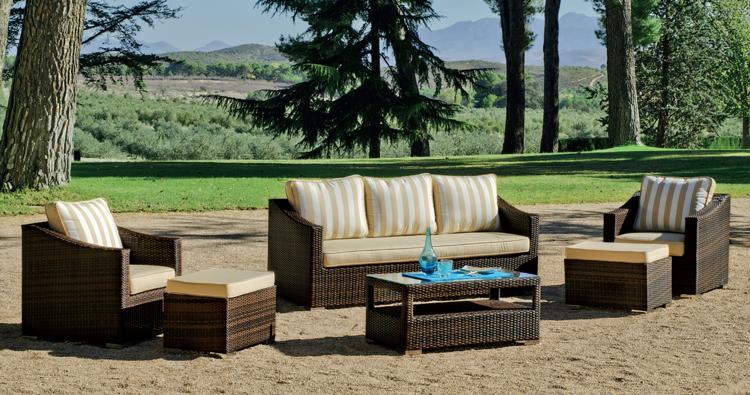 Set muebles de lujo para exteriores ERMES - Muebles de Rattan de lujo con resistencia garantizada ERMES
