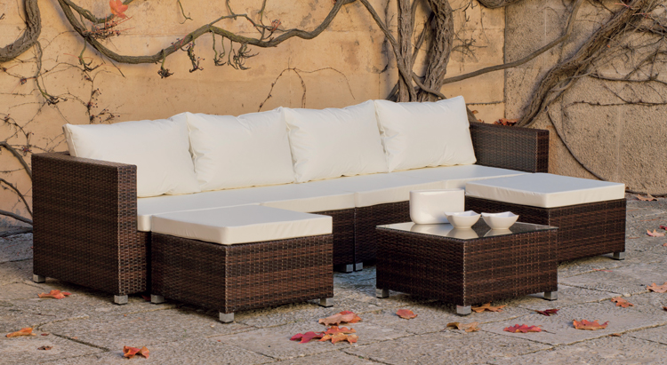 Muebles De Rattan Para Exterior : Mia home set muebles para exteriores con cojines nauticos elder