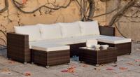 Set muebles para exteriores con cojines PLT - Muebles de Rattan de lujo con resistencia garantizada y cojines Nauticos Caruno
