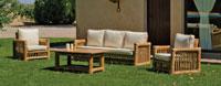 Set muebles sofá Kingston 8 - Juego de muebles sofá de 3 plazas, sillones confort y mesa de centro en bambú