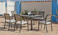 Set mesa de comedor de lujo para exteriores Malena 150 - Mesa de comedor con resistencia garantizada y acabado de lujo Malena 150