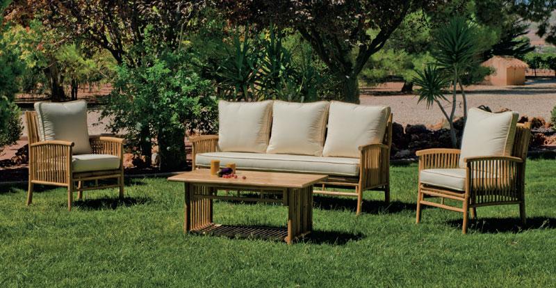 Set muebles sofá Menfis 8 - Juego de muebles sofá de 3 plazas, sillones confort y mesa de centro en bambú