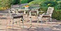 Set mesa de comedor de lujo para exteriores Rodano 909-160 - Mesa de comedor con resistencia garantizada y acabado de lujo Rodano 909-160