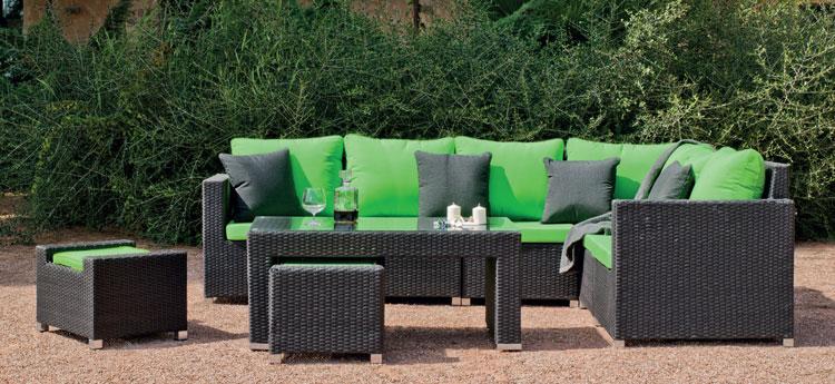 Set muebles de lujo para exteriores SALERMO 7 - Muebles de Rattan de lujo con resistencia garantizada