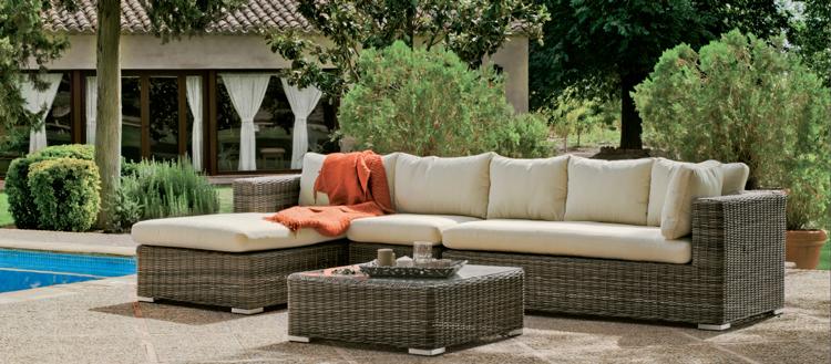 Set muebles de lujo para exteriores Bosarlino 86/87 - Muebles de Rattan de lujo con resistencia garantizada Bosarlino 86/87