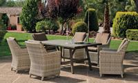 Set mesa de comedor de lujo para exteriores Ainoa 6 - Mesa de comedor con resistencia garantizada y acabado de lujo Ainoa 6