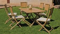 Set mesa de comedor San Remo 150 - Juego de mesa comedor con sillas plegables en bambú