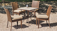 Set sillas y mesa mosaico modelo Aloha/Marzia - Juego de mesa  de acero en mosaico con silla de rattan modelo  Aloha/Marzia