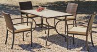 Set sillas y mesa mosaico modelo Amazon/Bahia - Juego de mesa  de acero en mosaico con sillón de rattan modelo Amazon/Bahia