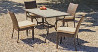 Set sillas y mesa mosaico modelo Amazon/Marzia - Juego de mesa  de acero en mosaico con silla de rattan modelo Amazon/Marzia