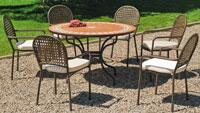 Set sillas y mesa mosaico modelo Benice/Belfast - Juego de mesa  de acero en mosaico con sillón de rattan modelo Benice/Belfast