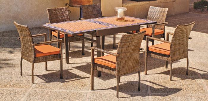 Set sillas y mesa mosaico modelo BOSTON/VETONIA/MARZIA - Juego de mesa  extensible mosaico con sillas de rattan modelo BOSTON/VETONIA/MARZIA