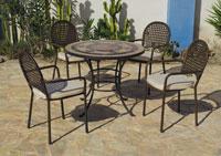 Set sillas y mesa mosaico modelo Camarines/Belfast - Juego de mesa  de acero en mosaico con sillón de rattan modelo Camarines/Belfast