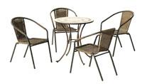 Set sillas y mesa mosaico modelo Camarines/Brasil - Juego de mesa  de acero en mosaico con sillón de rattan modelo Camarines/Brasil