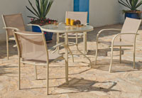 Set sillas y mesa modelo Castilla 90 - Juego de mesa desmontable de acero con cristal templado modelo castilla