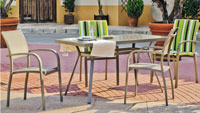 Set sillas y mesa modelo Coira 150 - Juego de mesa desmontable de aluminio con tablero de cristal templado modelo Coira 150