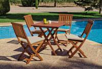 Set sillas y mesa de comedor Colony 707 - Juego de Mesa de comedor con silla plegable en madera de acacia