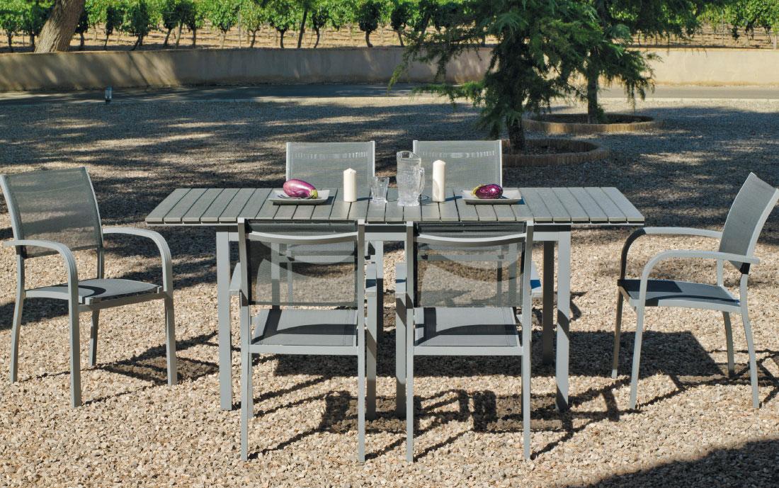 Set sillas y mesa modelo Denis/Amberes - Juego de mesa desmontable de aluminio extensible con tablero poliwood modelo Denis/Amberes