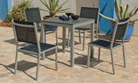 Set sillas y mesa modelo Denis/Boltimor 707 - Juego de mesa desmontable de aluminio con tablero poliwood modelo Denis/Baltimor 707