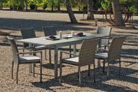Set sillas y mesa modelo Denis/Sicilia - Juego de mesa desmontable de aluminio extensible con tablero poliwood modelo Denis/Sicilia