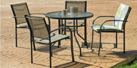 Set sillas y mesa modelo Europa  - Juego de mesa desmontable de acero con cristal templado modelo Europa