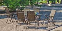 Set sillas y mesa modelo Macao 151 - Juego de mesa desmontable de acero con cristal templado modelo Macao 151