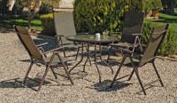 Set sillas y mesa modelo Macao 91 - Juego de mesa desmontable de acero con cristal templado modelo Macao 91