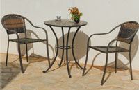 Set sillas y mesa mosaico modelo Nerja/Naomi - Juego de mesa  de acero en mosaico con sillón de rattan modelo Nerja/Naomi