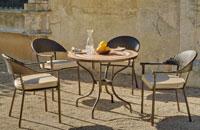 Set sillas y mesa mosaico modelo Siena/Bairon - Juego de mesa  de acero en mosaico con sillón de rattan modelo Siena/Bairon