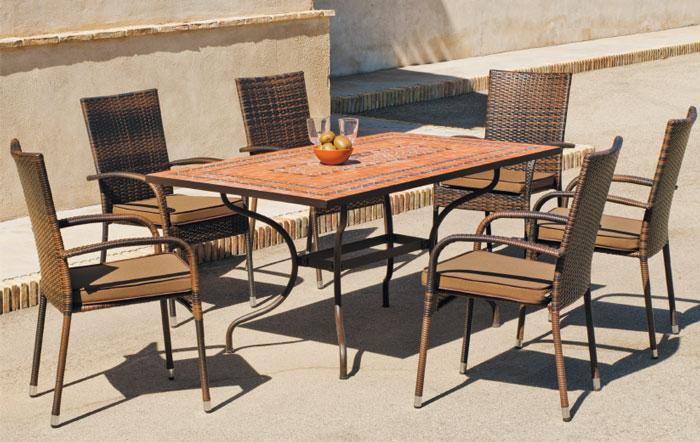 Set sillas o mesa mosaico modelo Teide/Bergamo - Juego de mesa  de acero en mosaico con sillas de rattan modelo Teide/Bergamo