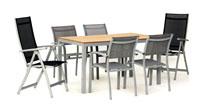 Set sillas y mesa modelo Trento/Amberes - Juego de mesa desmontable de aluminio extensible con tablero poliwood modelo Trento/Amberes