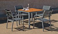 Set sillas y mesa modelo Trento/Amberes 909 - Juego de mesa desmontable de aluminio con tablero poliwood modelo Trento/Amberes 909