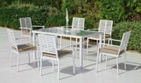 Set mesa de comedor para exteriores Albay - Mesa de comedor con resistencia garantizada y acabado de lujo Albay