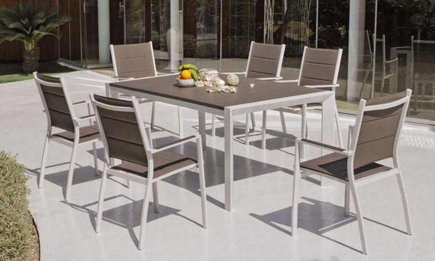 Set mesa de comedor para exteriores Bolonia - Mesa de comedor con resistencia garantizada y acabado de lujo Bolonia