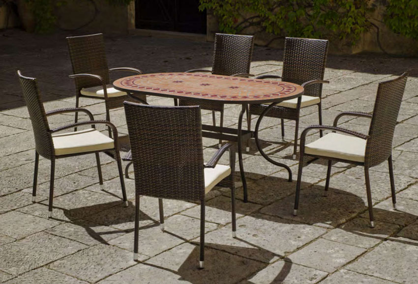 Set sillas o mesa mosaico modelo Asburgo/Bergamo 160 - Set sillas o mesa mosaico modelo Asburgo/Bergamo 160