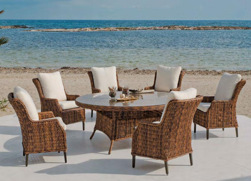 Set  de comedor de lujo para exteriores Panama 180 - Set mesa de comedor de lujo para exteriores  Panama 180
