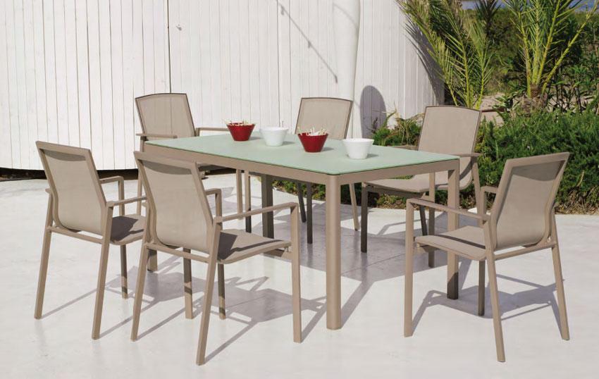 Set mesa de comedor para exteriores Opalo - Mesa de comedor con resistencia garantizada y acabado de lujo Opalo