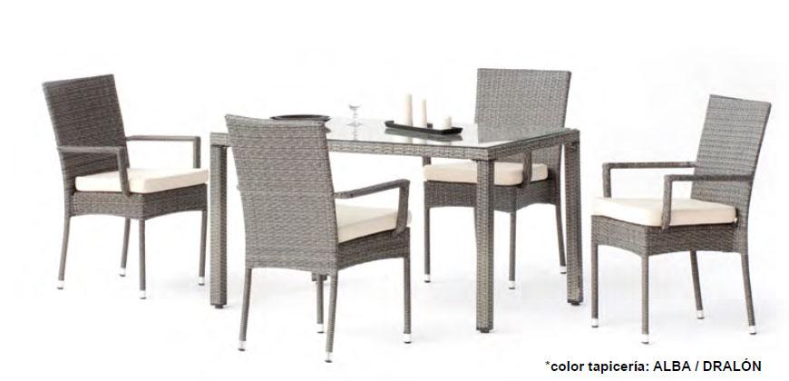 Set mesa de comedor para exteriores Mali 130-150 - Mesa de comedor con resistencia garantizada y acabado de lujo Mali 130-150