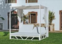 Tumbona Balinesa - Cama aluminio con dosel y doble respaldo multiposiciones