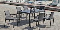 Mesa de aluminio CORSICA 160 - Mesa de aluminio CORSICA 160, fabricado en aluminio y sillones en textilen