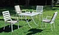 Mesa de aluminio HEVEGALITE Plegable - Mesa de aluminio HEVEGALITE Plegable, fabricado en aluminio y sillones en textilen