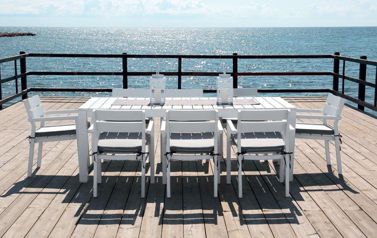 Mesa rectangular Marlet - Mesa rectangular Marlet, fabricado en aluminio y cojines en Dralón
