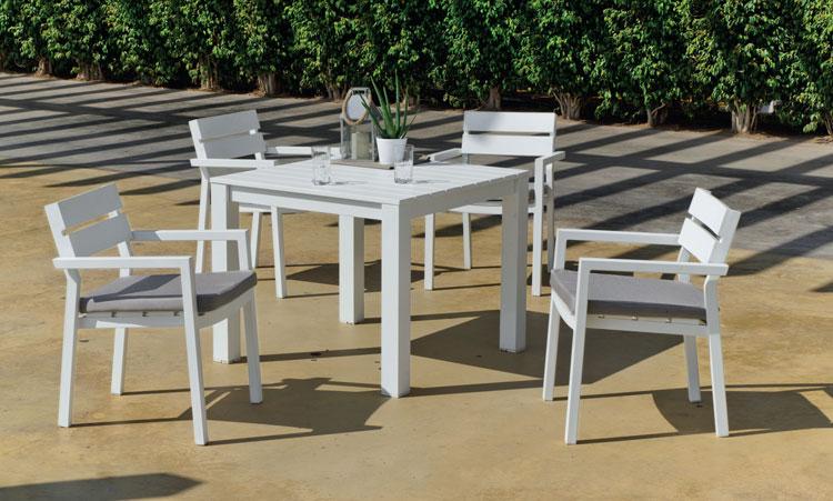 Mesa cuadrada Marlet - Mesa cuadrada Marlet, fabricado en aluminio y cojines en Dralón